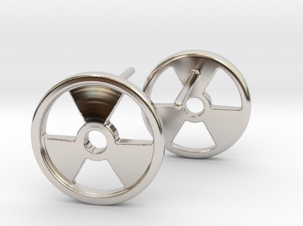 Nuclear Hazard Earrings in Rhodium Plated