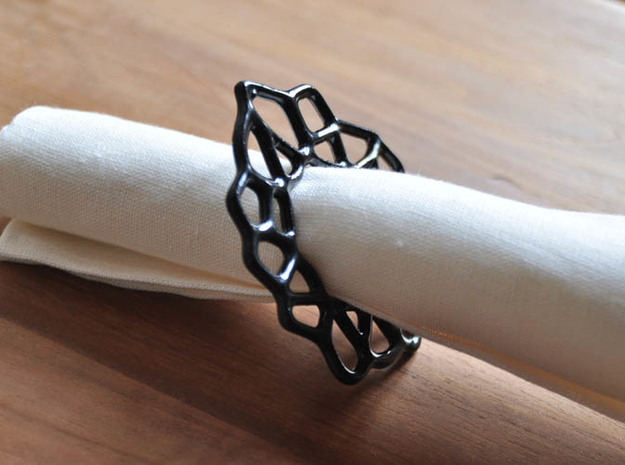 Napkin Ring Cell Shaped 3d printed Side view of the Napkin Ring in gloss ceramic finish