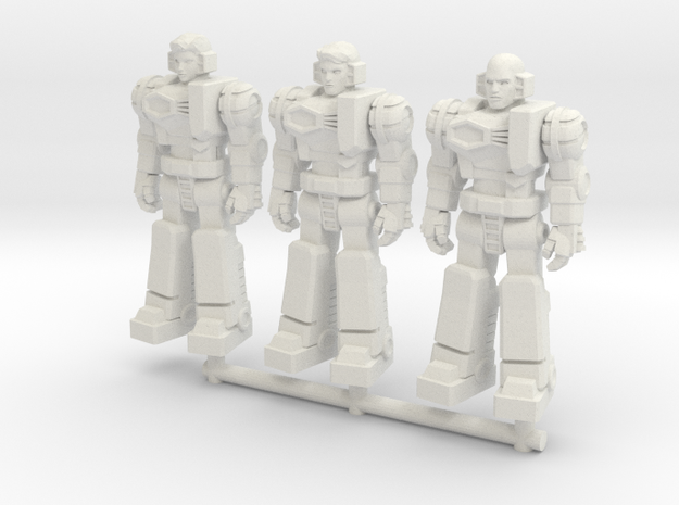 Diaclone Pilot Squad, at attention 35mm Mini in White Strong & Flexible