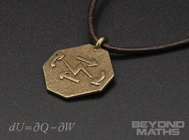 Pendant Thermodynamics First Law in Polished Bronze Steel