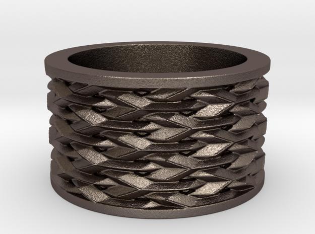 Basketweave Ring in Polished Bronzed Silver Steel: 6 / 51.5