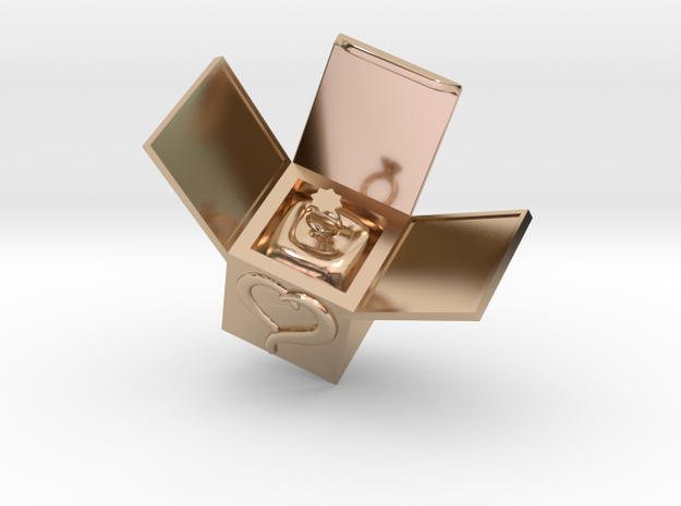 Box Ring  Jewelry (Smaller Size) in 14k Rose Gold Plated Brass: Small