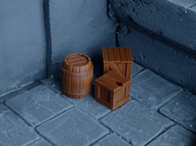 Miniature Crates in Smooth Fine Detail Plastic
