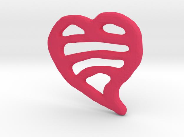 Striped Heart Pendant in Pink Processed Versatile Plastic