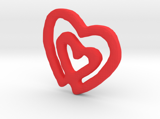 Classic Double Heart Pendant in Red Processed Versatile Plastic