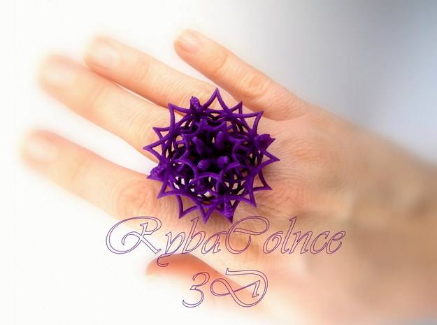 Ring The Cthulhu 7US (17.35mm) in Purple Processed Versatile Plastic