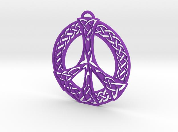 Celtic Peace Symbol Pendant in Purple Processed Versatile Plastic