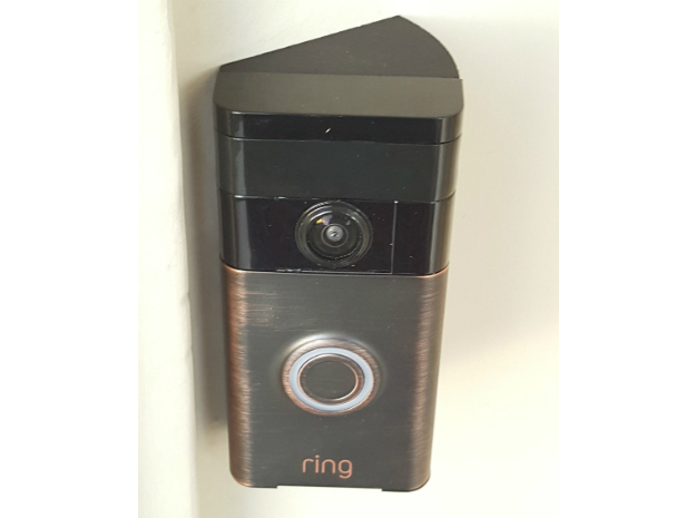 Ring Doorbell Angle Bracket/Wedge 40Right in Black Natural Versatile Plastic
