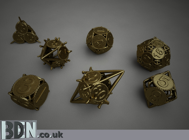 Swords and Shields D&D Dice set with Decader 3d printed Render of the set