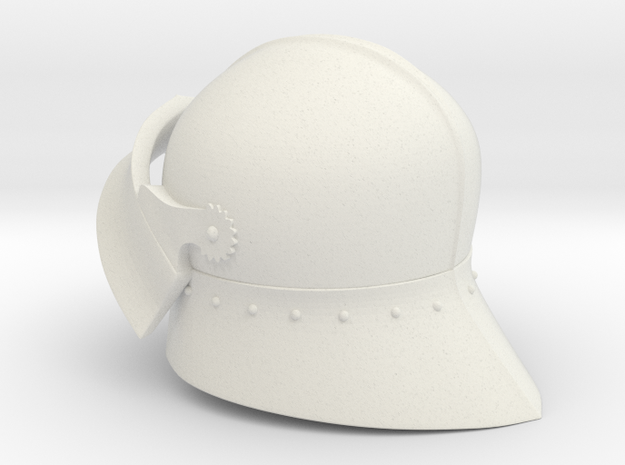 Medieval Sallet compatible with playmobil figure in White Strong & Flexible