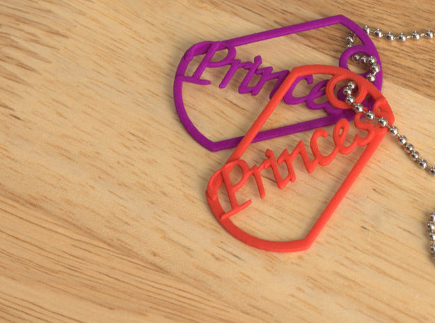 Princess dog tag 3d printed