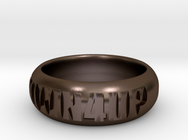 1 DOWN 4 UP RING in Polished Bronze Steel