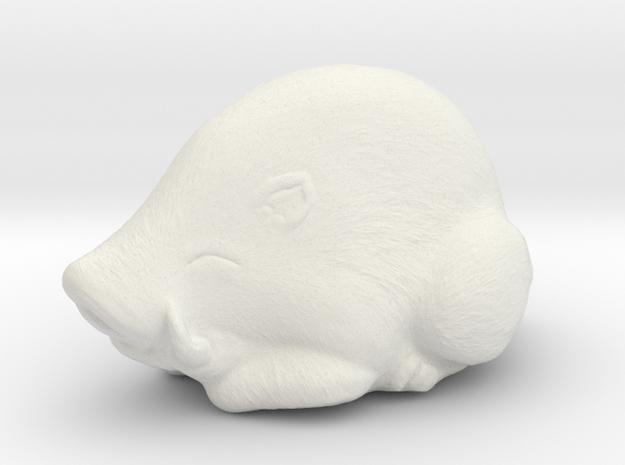 Hog Netsuke  in White Natural Versatile Plastic