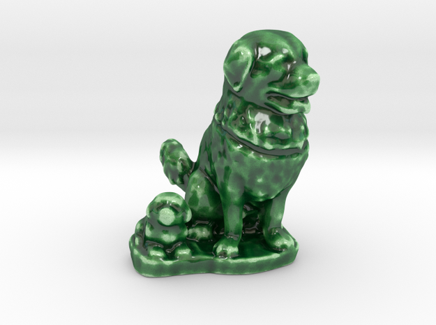 Dog&Puppy  in Gloss Oribe Green Porcelain