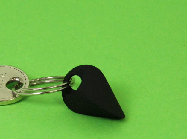 Oloid key chain in Black Strong & Flexible: Small