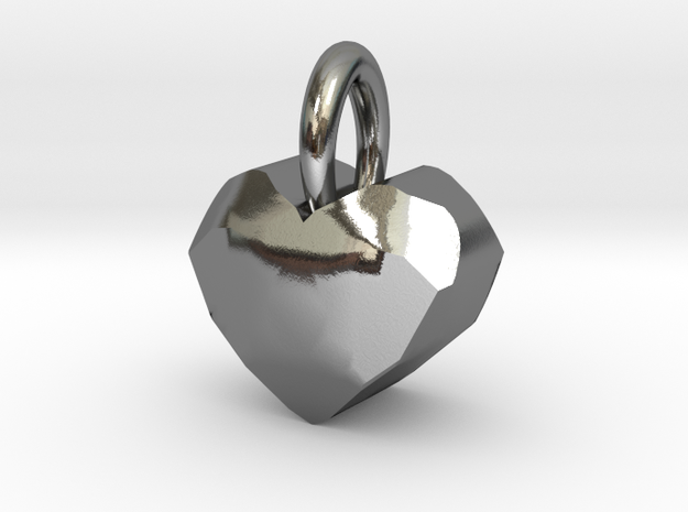 Heart Pendant With Facets in Polished Silver