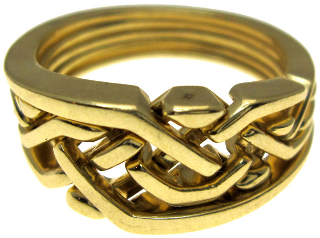 Weave Five in interlocking metal in Polished Brass (Interlocking Parts)