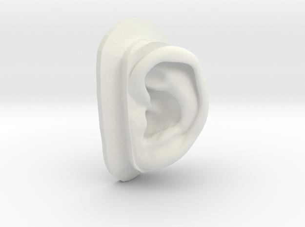 DIY Binaural Ear + Canal Anatomically Accurate - L in White Natural Versatile Plastic