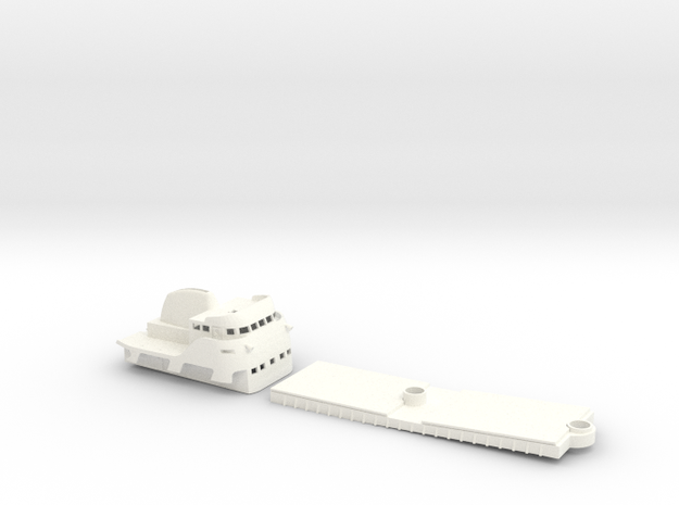 Coaster 840, Superstructure & Hatches (1:160, RC) in White Strong & Flexible Polished