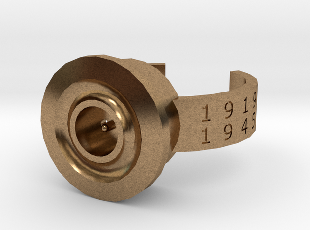 8x51mmR Lebel WW1 and 2 memorial ring in Natural Brass