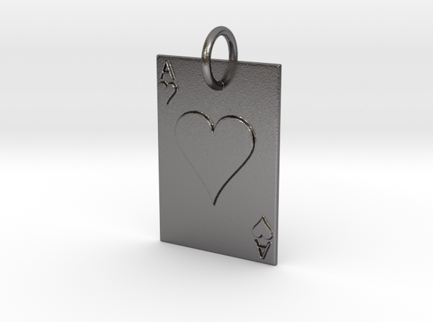 Ace of Hearts Keychain/Pendant in Polished Nickel Steel