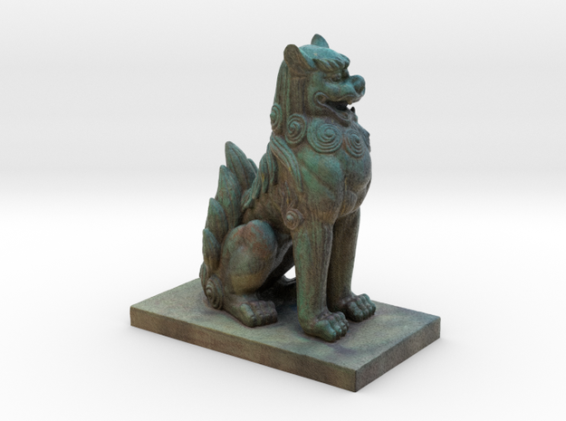 Komainu  Mythical Lion-Dog in Full Color Sandstone