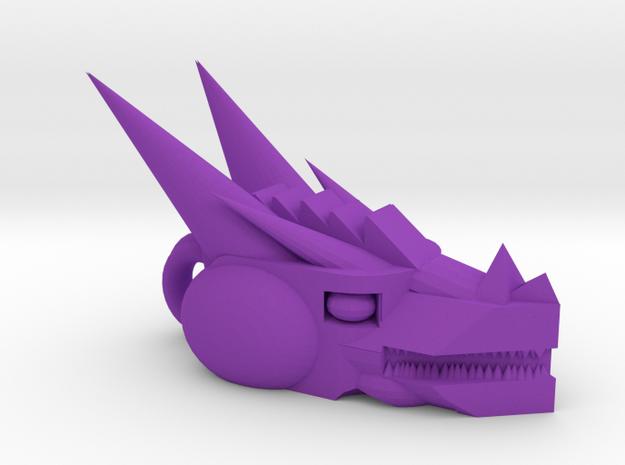 Mech Dragon head charm in Purple Strong & Flexible Polished