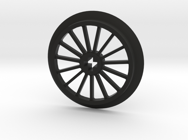 Large Thin Train Wheel in Black Natural Versatile Plastic