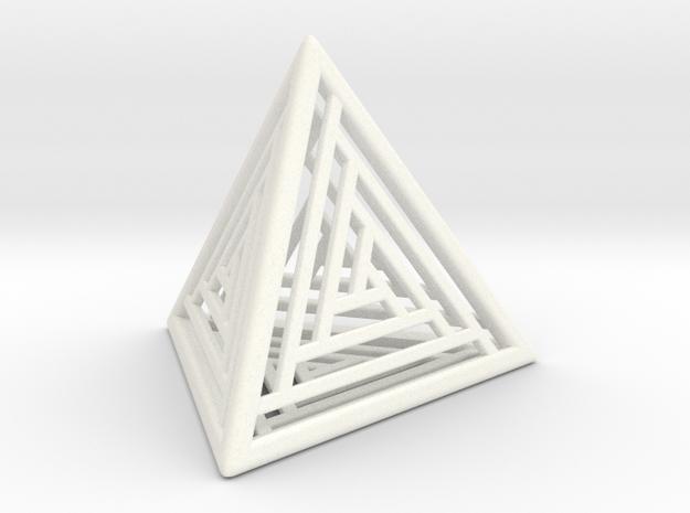 Tetrahedron Lattice in White Strong & Flexible Polished