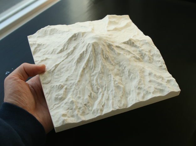 "8'' Mt. Rainier, Washington, USA, Sandstone 3d printed Me holding the big 8"" sandstone Rainier print---what detail!"