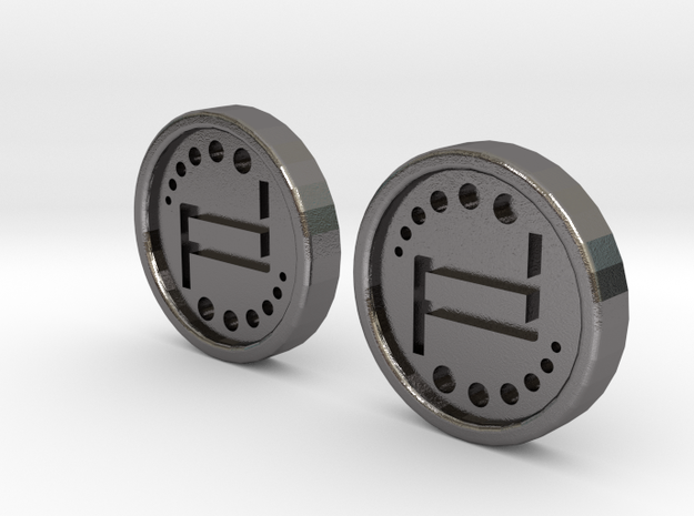 Pair of Turbo Spin Buttons R188 in Polished Nickel Steel