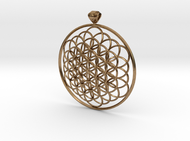 Flower Of Life Pendant 6cm Fancy Loopet in Natural Brass