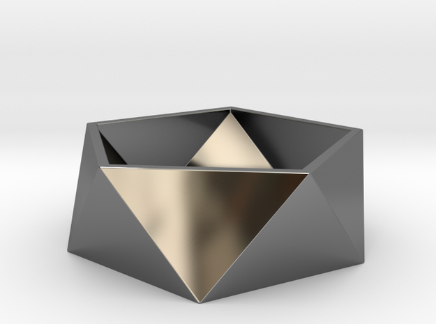 Geometric Ring in Fine Detail Polished Silver