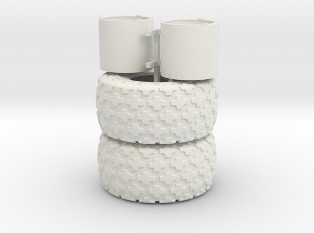 (2) 35.5-32 BUTTON TREAD TIRES & RIMS - WSF in White Natural Versatile Plastic