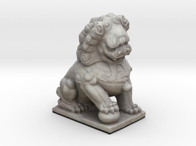 Cute Chinese Guardian Lion  in Full Color Sandstone