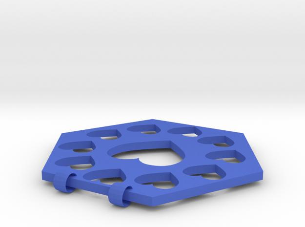 Hex Haert Necklace Charm in Blue Processed Versatile Plastic