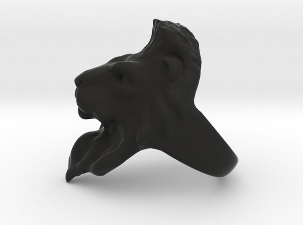 Lion Ring 16.59mm (size 6) in Black Natural Versatile Plastic