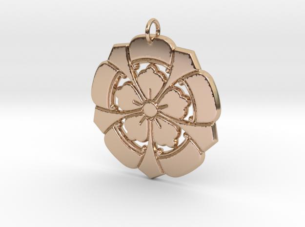 Matsuya Crests: Floral Pendant in 14k Rose Gold
