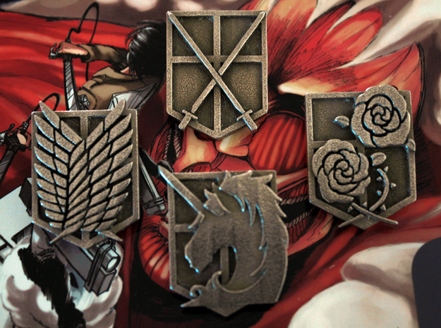 Attack On Titan Emblems - Set Of 4 3d printed This is how the emblems look once the support material has been removed.