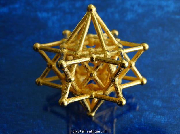 Merkiva Merkaba in Polished Gold Steel