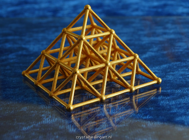 Pyramid Matrix - 3x3 Grid in Polished Gold Steel