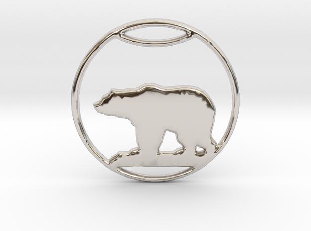 Polar Bear Pendant in Rhodium Plated Brass: Small