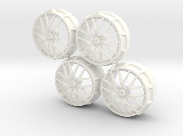 Set Rims for Ferrari 458 Challenge 1/18 in White Processed Versatile Plastic