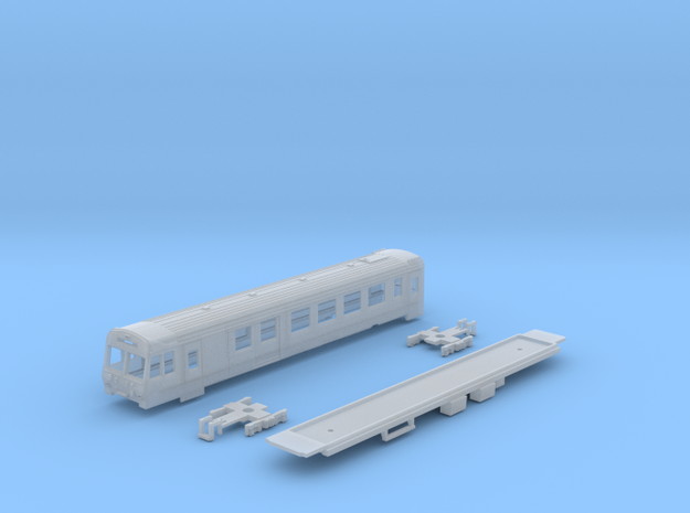 Passenger car type BDt-2 w/bogie in Smooth Fine Detail Plastic