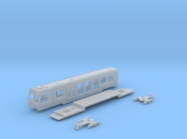 Passenger car type BDt-4 w/bogie in Smooth Fine Detail Plastic