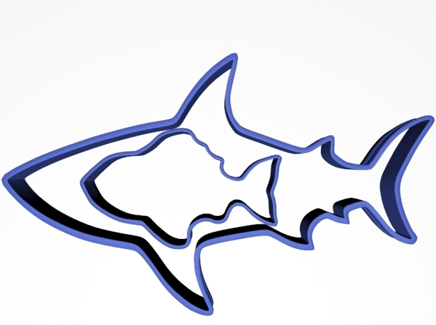 Cookie Cutter Shark and Fish in Blue Strong & Flexible Polished