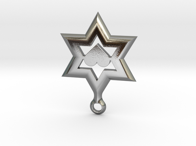 Star of David Heart Pendant in Polished Silver