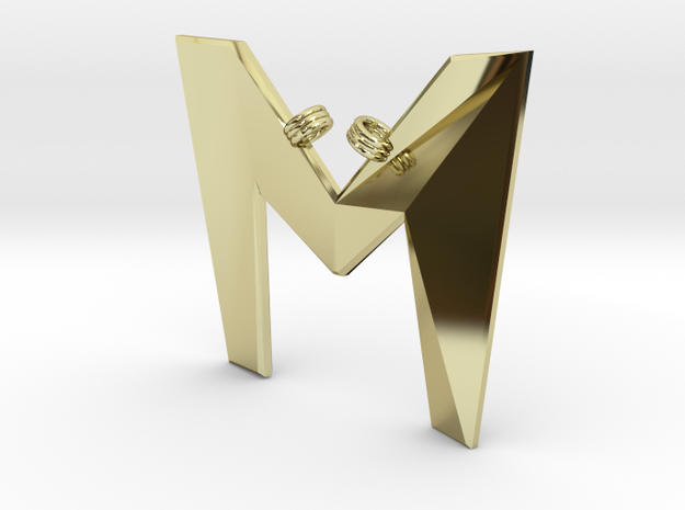 Distorted letter M in 18k Gold Plated Brass