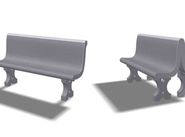 Cement Benches, HO Scale, 10 + 6 doubles in White Natural Versatile Plastic