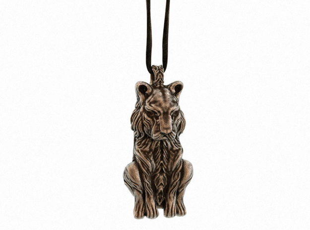 The Sleeping Tiger Pendant in Polished Bronze Steel